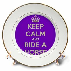 """cp_171907_1 Keep Calm and Ride a Horse, Purple and White Porcelain Plate, 8"""""""