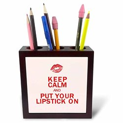 ph_214536_1 Keep Calm and Put Your Lipstick on Tile Pen Holder, 5""
