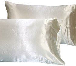 Highland Feather Charmeuse Silk Pillow Case - Champagne - Size: Queen