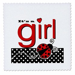 Its A Girl - Cute Red Ladybug Black and White Polka Dots - Quilt Square, 25 by 25-Inch (qs_57101_10)