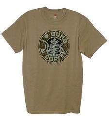 I Love Guns & Coffee Men's T-Shirt - Desert Sand - Size: Medium