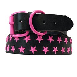 29 in. Black Genuine Leather Dog Collar in Pink Stars