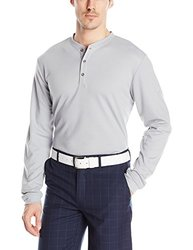 adidas Golf Men's Travel Dri-Release Wool Henley Shirt, Mid Grey, Large