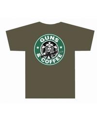 Men's Guns & Coffee T-Shirt - Olive Drab Green - Size: Medium
