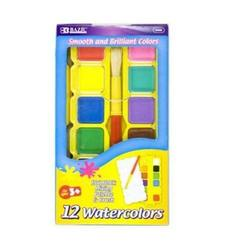 Bazic Watercolor with Brush & Mixing Palette - Assorted Color