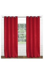 """Modern Floral 54""""x95"""" inch Raindrops Grommet 2-Piece Curtain Set - Red"""