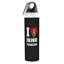 I Heart Irish Terriers Artful Traveler Stainless Water Bottle - 18 oz