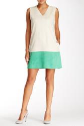 Gracia Faux Suede Color Block Dress - Beige - Size: Large