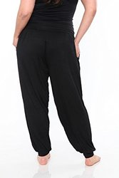 White Mark Women's Plus Harem Pants - Black - Size: 1XL