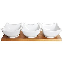 "Porcelain Cocktail Bowl Triplets Set 12x4"" Bamboo Tray"