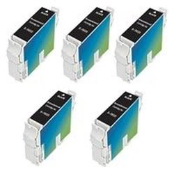 Amsahr T0321 Remanufactured Replacement Epson Ink Cartridges for Printers/Faxes with 5 Black Cartridges Ink