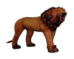 Gurman LA LA-1201 1315IN Leather Covered Lion Standing Figurine, 15-Inch, Light Brown