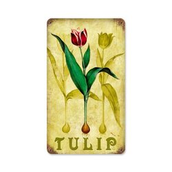 "Past Time 8""x14"" Tulips Novelty Metal Garden Sign"