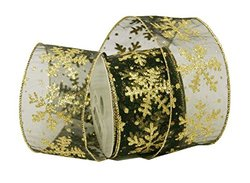 "Renaissance 2000 2.5"" x 10yd Black Sheer with Gold Snowflakes Ribbon"
