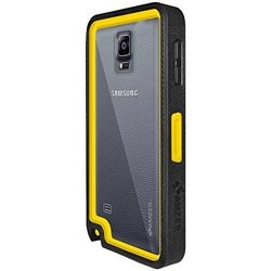 Amzer Crusta Rugged Case Black/Yellow Tempered Glass Samsung GALAXY Note 4