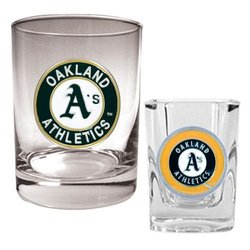 Great American Oakland Athletics MLB Rocks & Shot Glass Set Primary Logo
