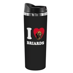 "Tree-Free Greetings ""I Heart Briards"" 14-oz Stainless Steel Tumbler"