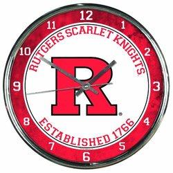 NCAA Rutgers Scarlet Knights Chrome Clock
