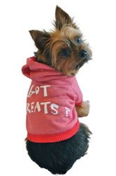 Ruff Ruff and Meow Dog Hoodie, Got Treats?, Red, Large