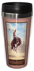 Tree-Free Greetings sg23065 Western Calgary Canada Bucking Bronco by Jack Terry Stainless Steel Sip 'N Go Travel Tumbler, 16-Ounce, Multicolored