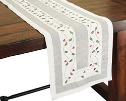Xia Home Fashions Classic Holly Embroidered Cutwork Christmas Table Runner