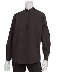 Chef Works W200-BLK-L Women's Banded Shirt, Black, Large