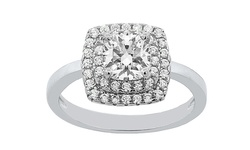 Golden Moon 2 CTW Swarovski Element Cushion Cut Ring - Size: 6