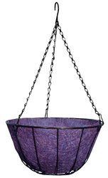 Robert Allen Home and Garden Chateau Hanging Basket with Black Wire, 12-Inch, Purple