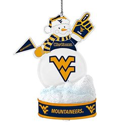 """NCAA West Virginia Mountaineers LED Snowman Ornament, White, 3.5"""""""