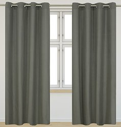 Karma 'faux cotton' grommet curtain set (54x95) in Taupe Grey