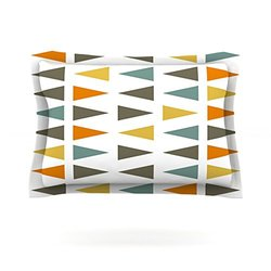 "Kess InHouse Pellerina Design ""Stacked Geo"" White Triangles 40 by 20-Inch Cotton Sham, King"