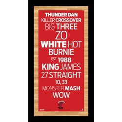 "NBA Miami Heat Framed Subway Sign Wall Art Photo - 9.5"" x 19"""