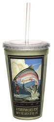 Tree-Free Greetings cc33184 Vintage Rainbow Trout Fisherman Fishing Trophy by Paul A. Lanquist Artful Traveler Double-Walled Cool Cup with Straw, 16-Ounce