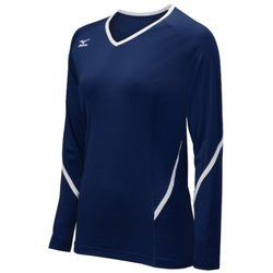 Mizuno Women's Youth Techno Generation Long Sleeve Jeresy, Navy/White, Medium
