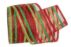 Renaissance 2000 2.5 x 10yd Red/Green Stripe Ribbon