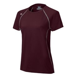 Mizuno Women's Balboa 3.0 Shorts Sleeve Jersey, Cardinal/Grey, Medium
