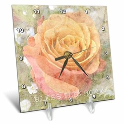 Peach Rose Bless Desk Clock - Size: 6*6""