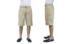 Harvic Men's 100% Cotton Belted Flat-Front Shorts - Khaki - Size: 38