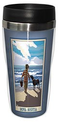 Tree-Free Greetings sg23050 Coastal Nova Scotia Boy with Dog by Joanne Kollman Stainless Steel Sip 'N Go Travel Tumbler, 16-Ounce, Multicolored