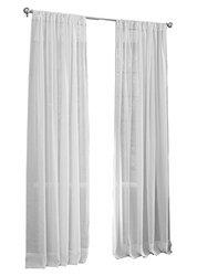 """LA Linen Sheer Voile Drape Panel (Pack of 1), 96 by 118"""", White"""