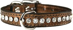 """OmniPet 16"""" Leather and Crystal Dog Collar - Metallic Bronze"""