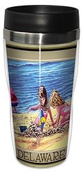 Tree-Free Greetings sg23021 Coastal Delaware Kids at the Beach by David Linton Stainless Steel Sip 'N Go Travel Tumbler, 16-Ounce, Multicolored