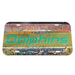 NFL Miami Dolphins Stadium Crystal Mirror License Plate, 6 x 12""