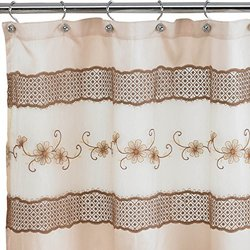 """Popular Home The Veronica Collection Shower Curtain, 70 by 72"""", Beige"""