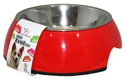 Best Pet Supplies Single Feeding Bowl with Stainless Steel - Large