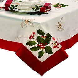 CHI Holiday Embroidered Rectangular Tablecloth, 70 by 86-Inch, Holly Berries with Red Trim Border