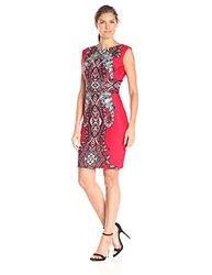 Women's Extended Shoulder Printed Scuba Sheath Dress - Red/Black - Size: 6