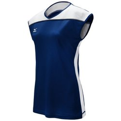 Mizuno Women's Balboa 2.0 Cap Sleeve Jersey, Navy/White, Small
