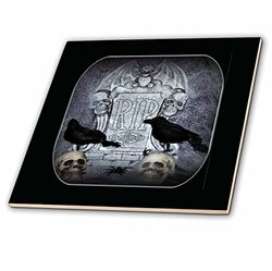 ct_28313_4 Rip with Crow Halloween Skull Design-Ceramic Tile, 12-Inch