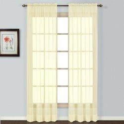 """American Curtain Semi Sheer Window Curtain - Yellow - Size: 84"""" x 54"""""""